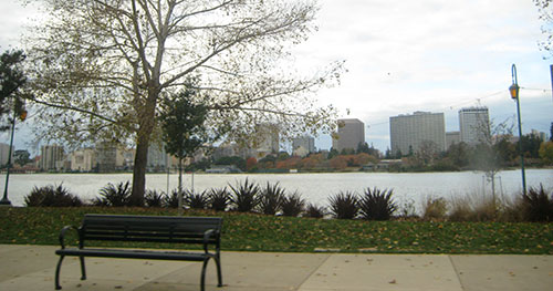 Park bench near Lake Merritt, Oakland CA